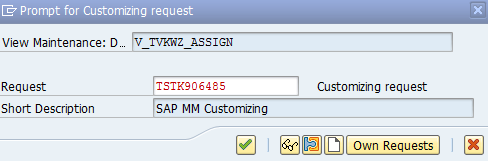 Assign Sales organization customizing request in SAP