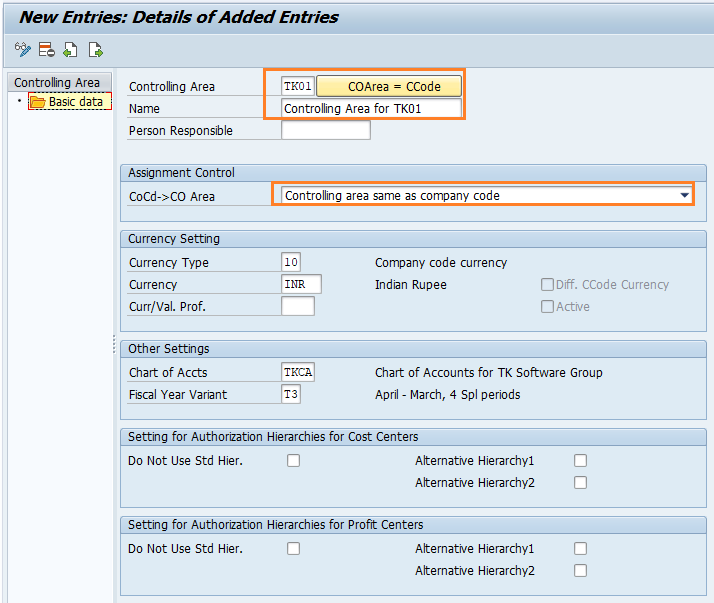 How to maintain controlling area in SAP