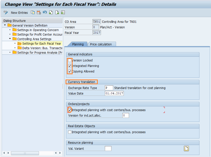 Maintain Versions in SAP Controlling
