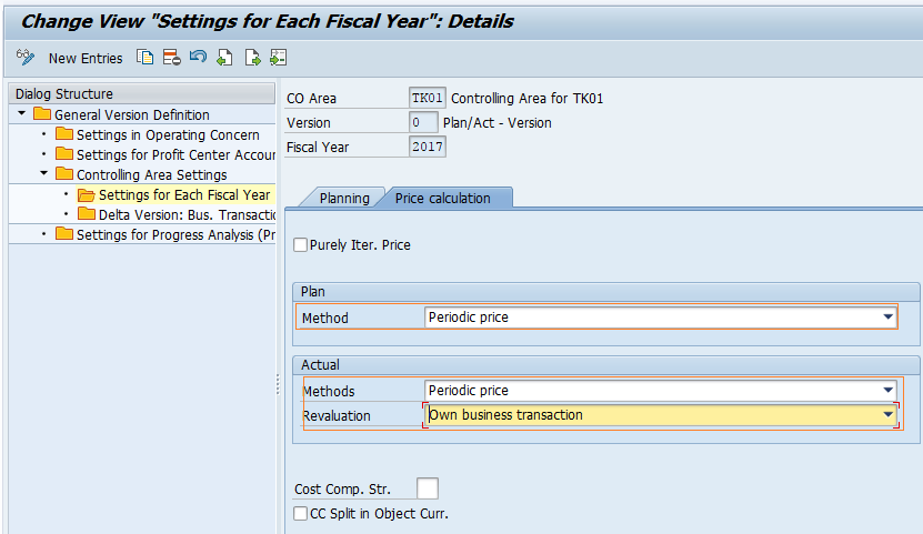 Maintain versions in SAP - pricing