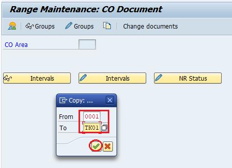 Range maintenance co document SAP