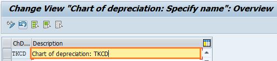 SAP chart of depreciation specify