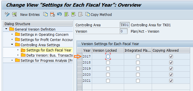 Settings for each fiscal year SAP