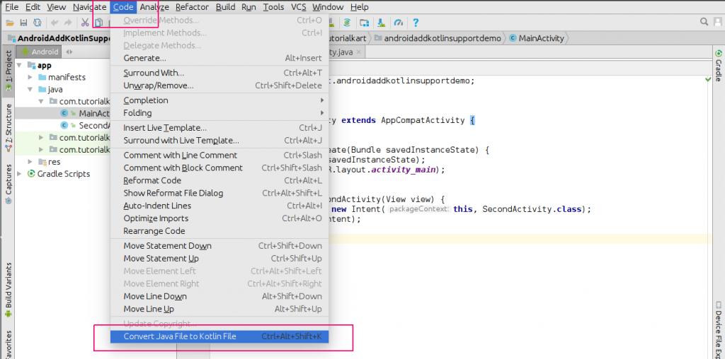 Convert Java Files in Android Application to Kotlin Files or Classes - Kotlin Tutorial - www.tutorialkart.com