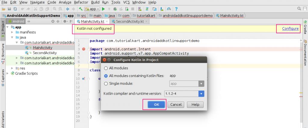 Configure Kotlin - Convert Java Files in Android Application to Kotlin Files or Classes - Kotlin Tutorial - www.tutorialkart.com