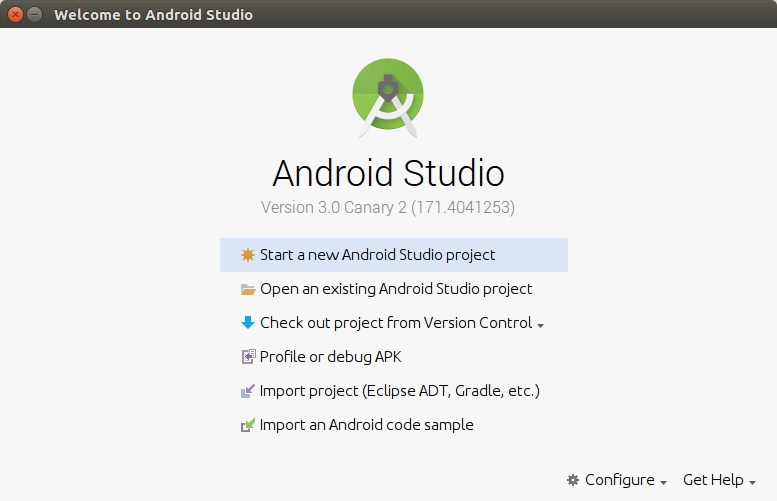 Android Studio Welcome Screen - Kotlin Android Application Example - www.tutorialkart.com