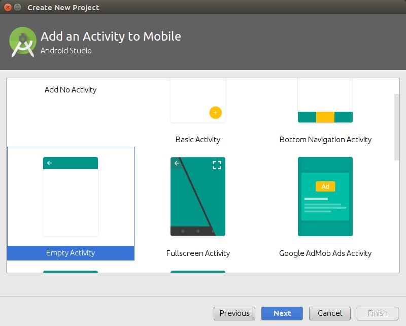 Select Empty Activity - Kotlin Android Application Example - www.tutorialkart.com