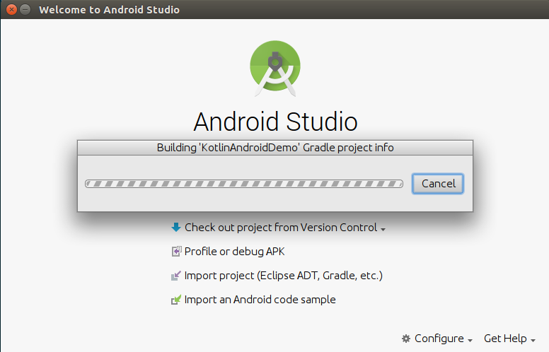 Building Project Information - Kotlin Android Application Example - www.tutorialkart.com