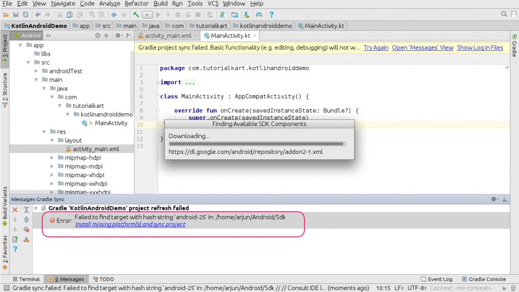 Install missing platform(s) - Kotlin Android Application Example - www.tutorialkart.com
