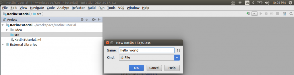 New Kotlin File - Setup of Kotlin Java Project in IntelliJ IDEA - Kotlin Tutorial - www.tutorialkart.com