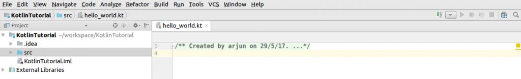 Kotlin File - Setup of Kotlin Java Project in IntelliJ IDEA - Kotlin Tutorial - www.tutorialkart.com