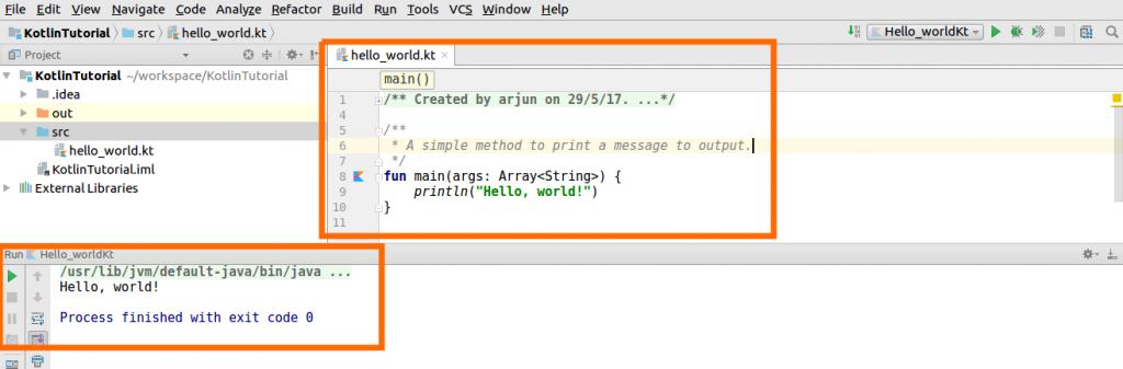 Kotlin Project Run - Setup of Kotlin Java Project in IntelliJ IDEA - Kotlin Tutorial - www.tutorialkart.com