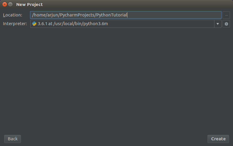 Project Name and Interpreter Selection - PyCharm IDE - Python Tutorial - www.tutorialkart.com