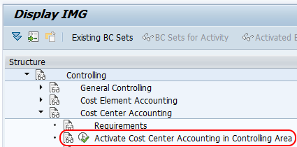 Activate cost center accounting in controlling area menu path