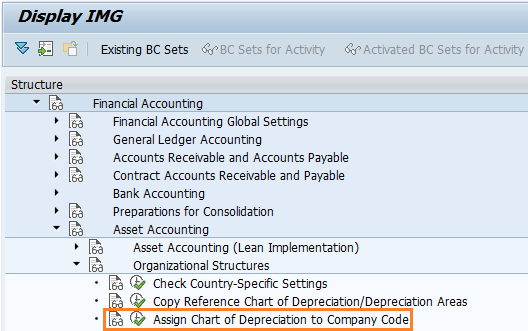 Assign chart of depreciation to company code in SAP path