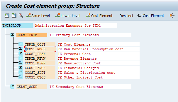 Create Cost Element Group in SAP