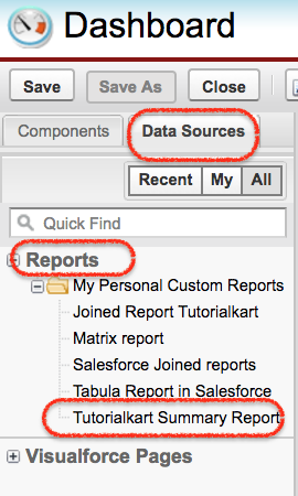 Creating Salesforce dashboard