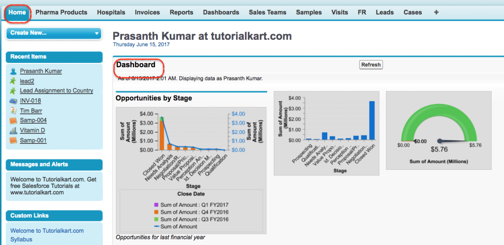 Dashboards on home page