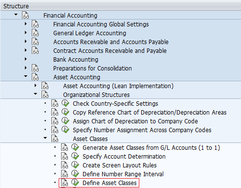 Define asset classes menu path