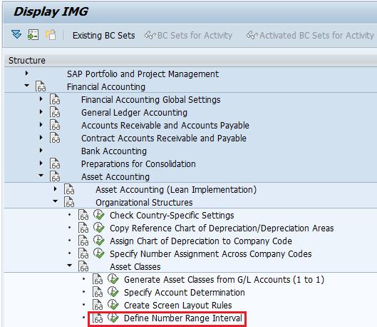 Define number range interval for assets menu path