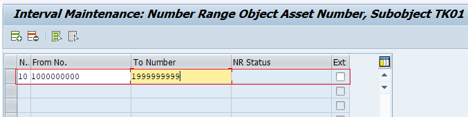 Maintain Number Range Intervals for Assets in SAP