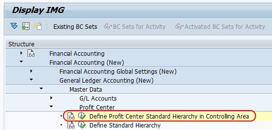 Profit Center standard hierarchy in controlling area menu path