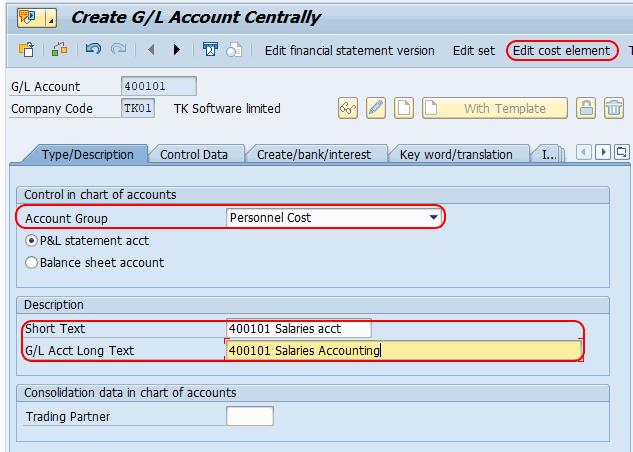 SAP Edit cost elements