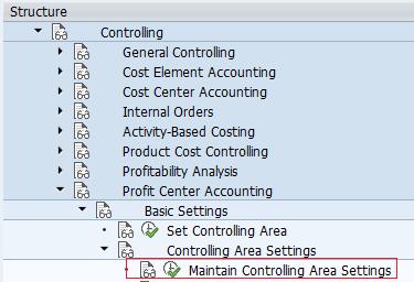 SAP menu path for maintaining controlling area settings