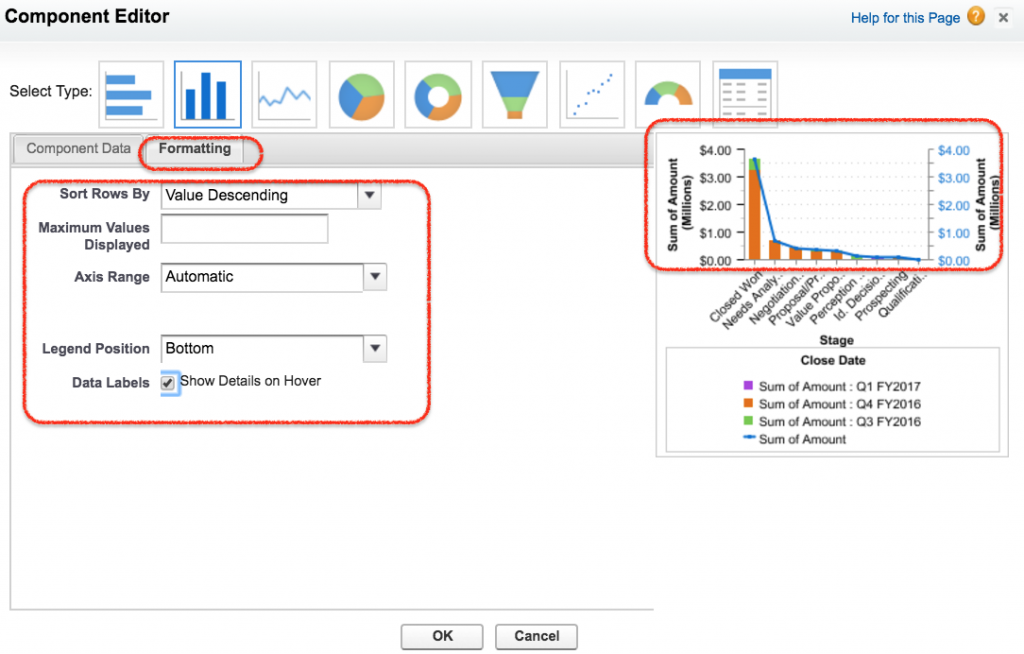 Salesforce dashboard formatting