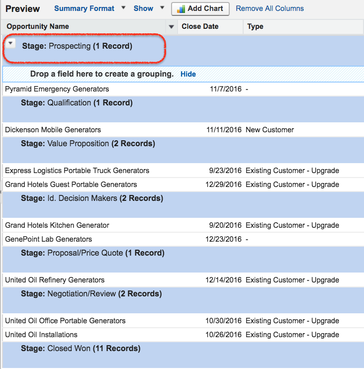 Summary reports in Salesforce