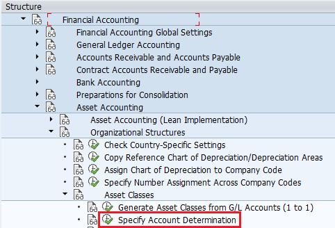 Specify account determination