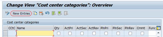 change view cost center categories screen SAP