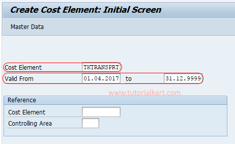 create secondary cost element initial screen SAP