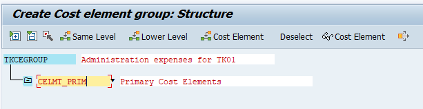 primary cost elements group key