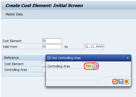 set controlling area for cost elements SAP
