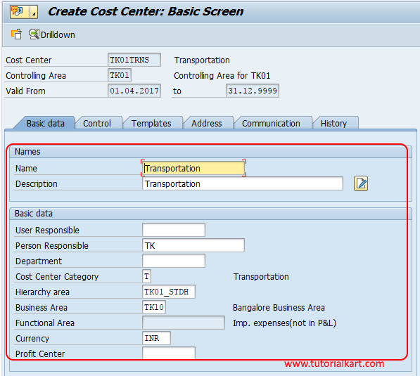 Create cost cost center in SAP