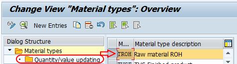 material types quantity value updating SAP
