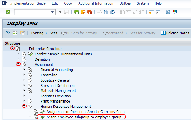 Assign employee subgroup to employee group SAP path