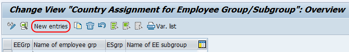 Assign employee subgroups to employee groups SAP
