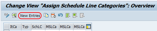 Assign schedule line categories - new entries SAP