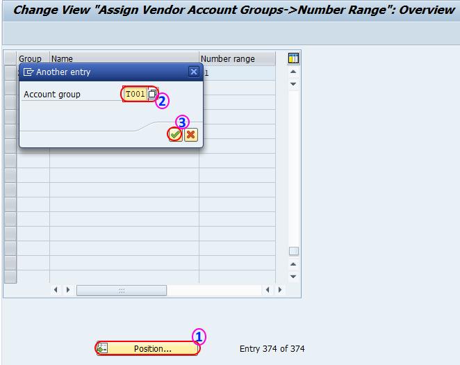 Assign vendor account groups number range SAP