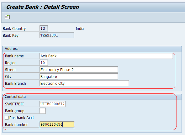 Create bank key in SAP FICO