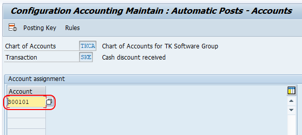 Define Accounts for Cash Discount Taken in SAP