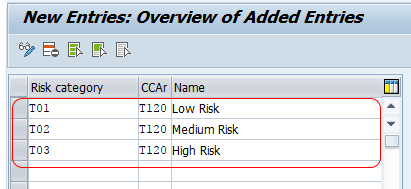 Define risk categories in SAP
