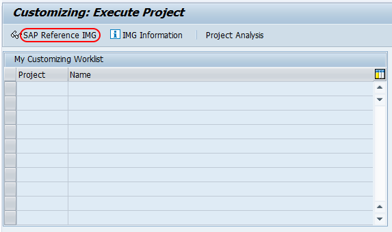 Execute project - sap reference IMG