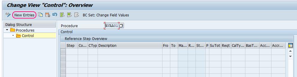 Pricing Procedure control new entries SAP