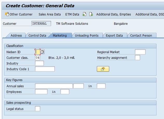 SAP Customer master record marketing