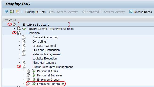 SAP Employee subgroups menu path