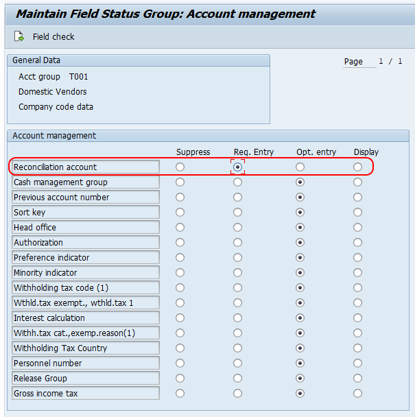 SAP vendor account group reconciliation account
