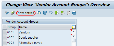 SAP vendor account groups new entries